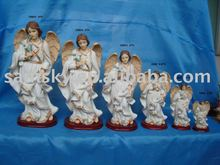 polyresin religious crafts archangel uriel with wooden base