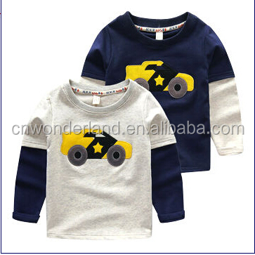 Autumn baby boy's cotton long sleeve t shirt cartoon car emb kids top tee shirt children fashion funny kid t shirt