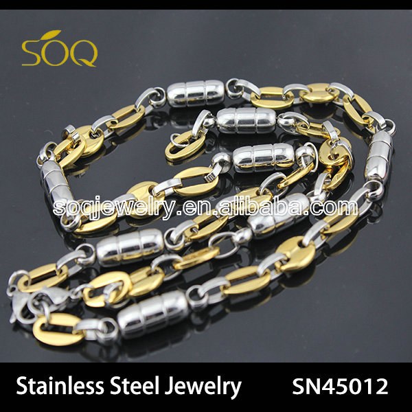 Stainless Steel Two Tone Thick Mariner Chain 90's fashion necklace for Men Latest Design Beads Necklace