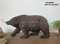 Resin sensor black bear figurines garden decor