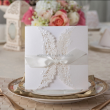 2017 Butterfly Ribbon Wedding Invitation Card Laser Cut white Lace Wedding Invitation Folded Cards PK838_WH