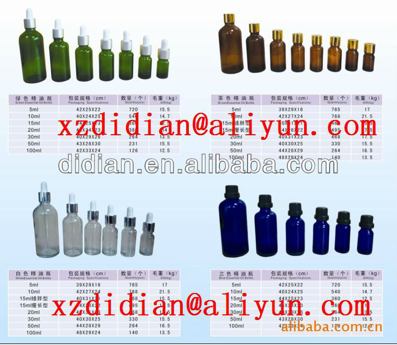 1-100ml essential oil glass bottle with dropper orifice reduce roll on