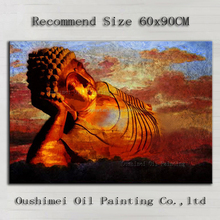 Professional Artist Hand-painted Reclining Buddha Oil Painting On Canvas Handmade Buddha Portrait Oil Painting For Wall Decor