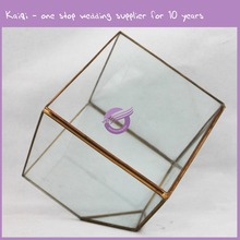 KA079 Hot selling wholesale indoor plant rose gold geometrical terrarium glass
