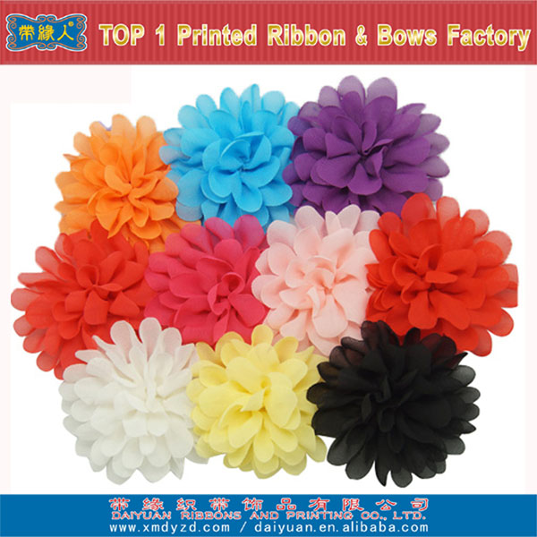 Hot sale chiffon ribbon flower clips for hair