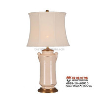 linen lampshade lighted in natural