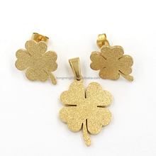 Four Leaf Clover Shape Stainless Metal Earrings Women Gold Plated Pendant