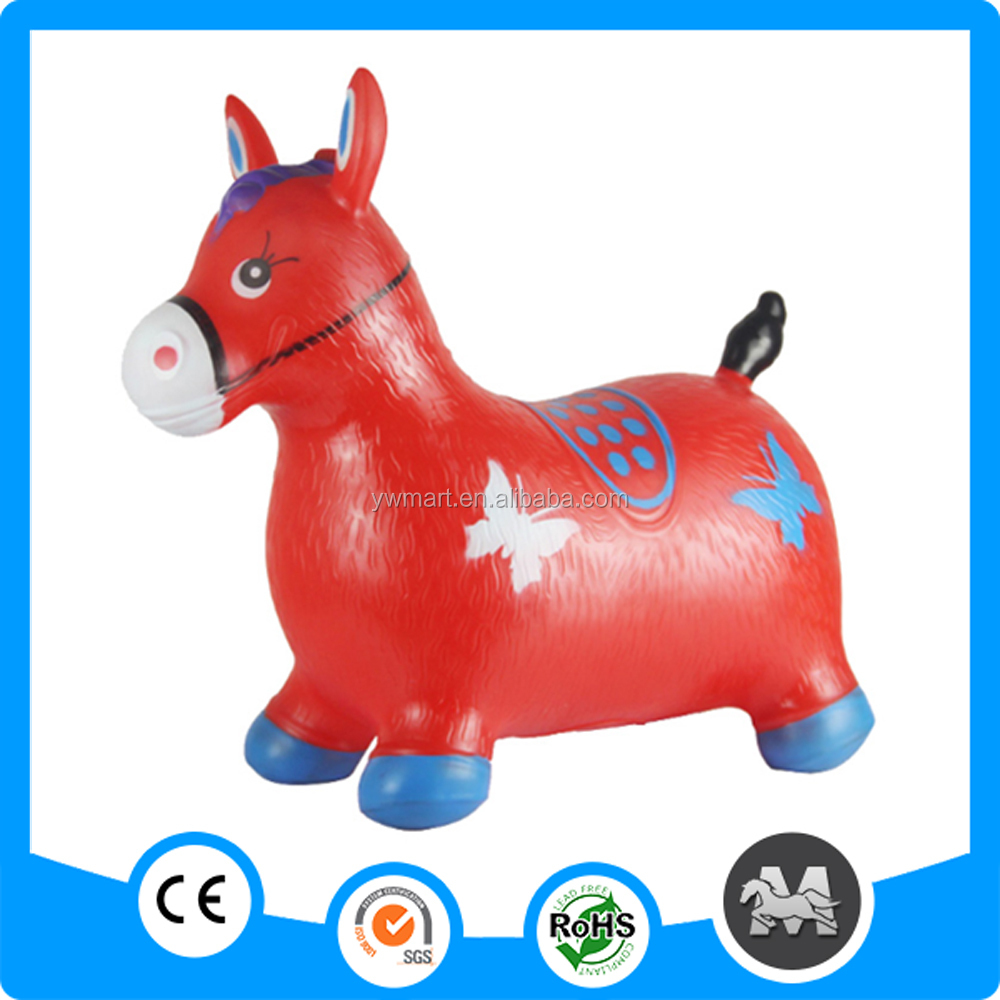 Black and white inflatable bouncing jumping horse