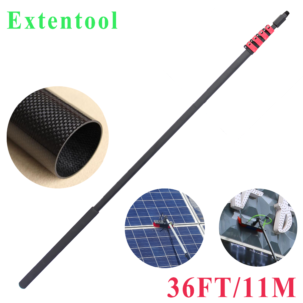 36FT/foot extension pole for window cleaning 10M/meters adjustable strong carbon fiber telescopic pole