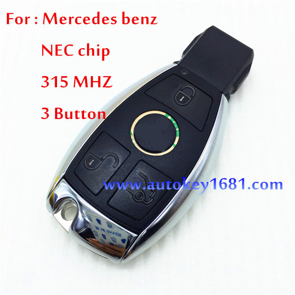 MS car key for mercedes benz NEC chip 3button smart card 315mhz remote control key with small key