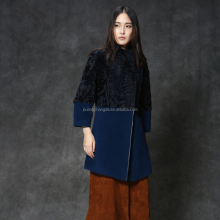 Blue& black color wool overcoat women with lamb fur patchwork design women Parka