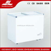 210L top open glass lid chest freezer with CB CE