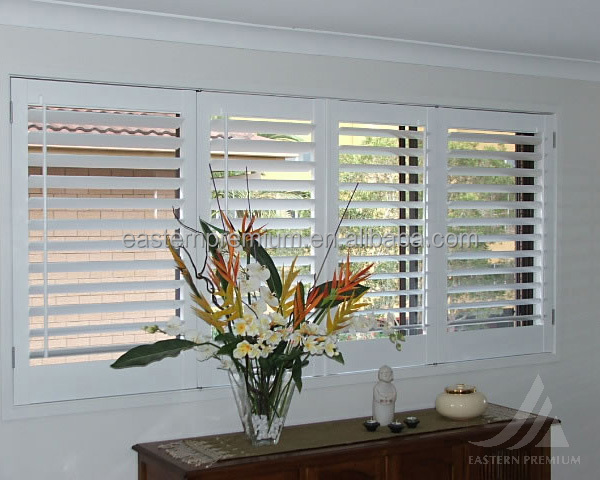 89mm louver basswood horizontal bi-fold and sliding security wooden plantation window shutters