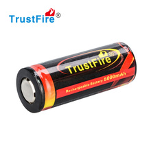 Trustfire protected cylindrical lithium ion rechargeable battery cell 3.7V 5000mah