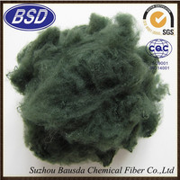6D 51mm A10 green recycled polyester staple fiber for sleeping bags