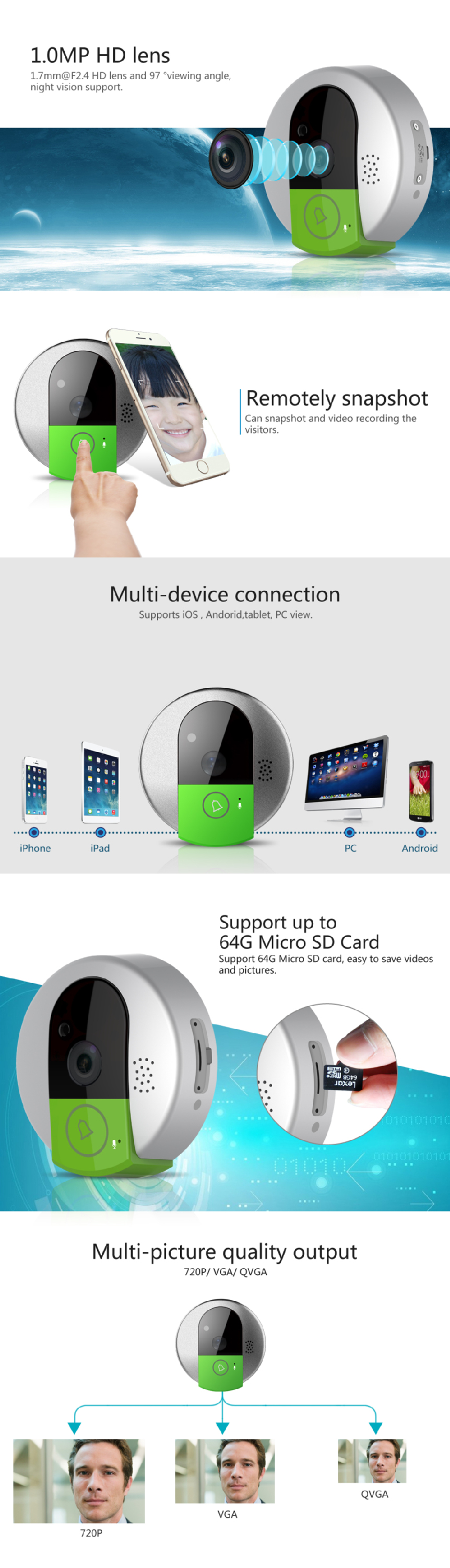 Hot seller 720P HD 2.4Gh wifi doorbell Real-time iPhone Android push notification vstarcam c95