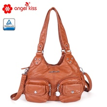 Angels kiss shoulder bags soft waterproof PU leather handbags casual <strong>totes</strong> for girls