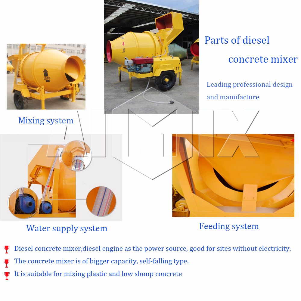 Top factory JZR350 diesel mobile concrete mixer machine with lift price