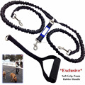 "72"" Premium Dual Dog Leash With Comfortable Soft GrFoam Rubber Handle And Integrated ""Shock Absorbing Bungee""ip"