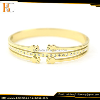 new designs bear 18k gold plated bracelet china manufacturer