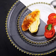 Gold and silver pearl rim lead-free crystal clear glass round shape dish &amp; <strong>plate</strong>