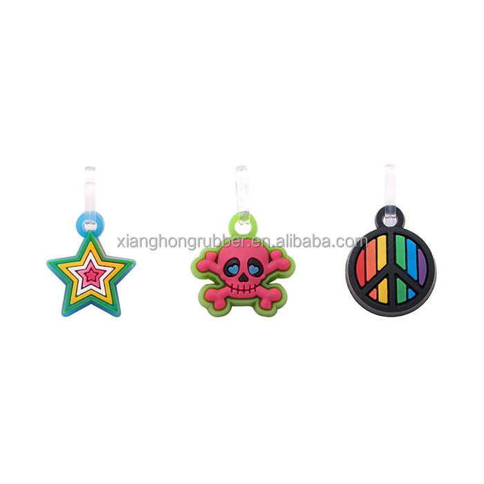 Star, Skull and Rainbow Peace Charm Pendant Cute Silicone Double Loop Dangle Charms