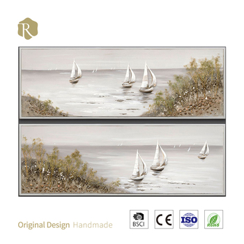 100% handmade 3D art new oil painting relife in chinese sailboats