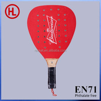 budweiser 2015 new arrival Hot sale promotion gift wooden beach tennis racket/beach paddle with holes with beach ball wholesale