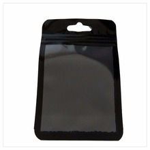 Plastic small black poly bag OPP plastic bag with zipper for parts/accessories