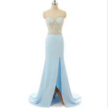 Two piece hand work beaded sash side split floor-length sky blue tank frocks romantic sweet evening dresses made in china