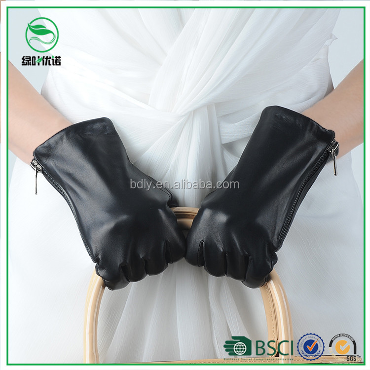 Winter Women Fashion Glove Leather Driving Gloves with zipper on the side