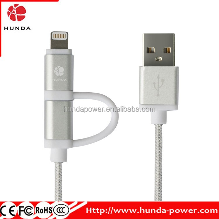 MFI Certified USB Cable, 8 pin 1M 2 in 1 USB data and Charging Cable