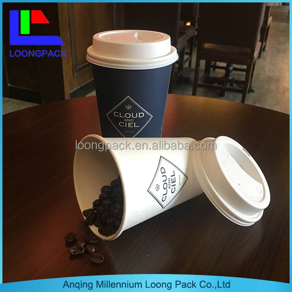 custom logo printed 8oz 12oz 16oz coffe/tea/drink paper cup with lid