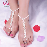 Cool and Refreshing Summer Pearl String Stretch Handmade Anklets Jewelry