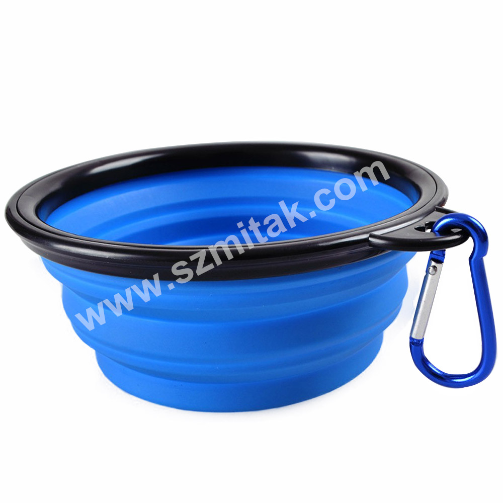Home Dog Travel Bowls Portable Collapsible Foldable Expandable Pet Cat Feeding Silicone Dog Bowls