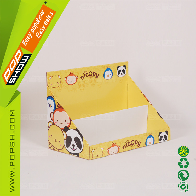 Cheap custom printed tiers cardboard counter box stand for display
