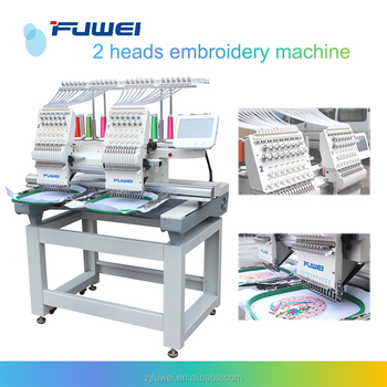 High Quality 2 head 12 needles double head Embroidery Machine for t-shirt and cap