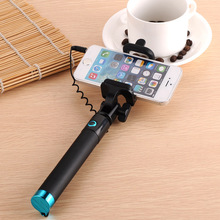 2017 Universal Portable Cable Monopod Selfie-Stick For Iphone,Mini wired Selfie Stick With Shutter Button For Smart phone