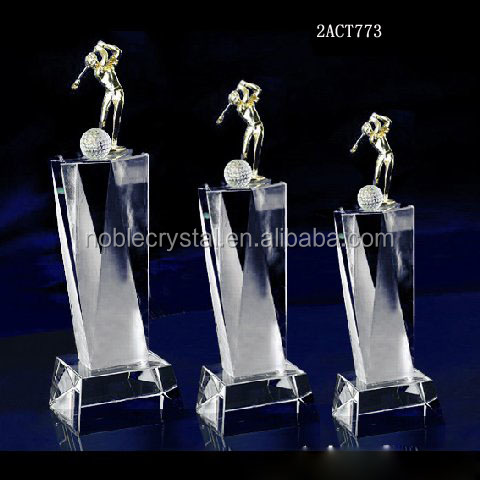 3d crystal golf trophy with gold metal figure
