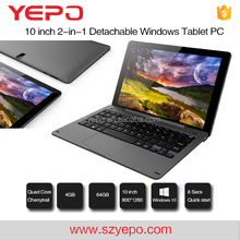 New 4GB 64GB 2 in 1 Tablet Laptop PC 10 inch IPS for Windows Tablet PC Dual OS Android Win 10