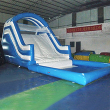 Blue children inflatable pool slide with pool