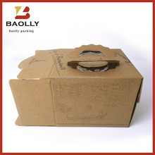 Kraft paper birthday cake box with handles and pvc window