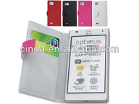 Genuine Real Leather Case Flip Cover Card Slot Wallet for LG Optimus 4X HD P880