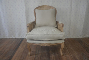Upholstered arm chair rattan back SF31