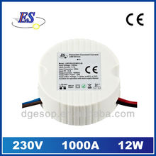 12W 1000mA Constant Current LED driver with Triac dimmer (230VAC)