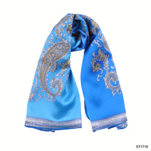 TOROS New Arrival Chinese Silk Blue Scarf For Lady