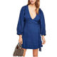 Tissue Wrap Belt Covered Button Surplus V Neck Soft Casual Denim Tunic Dress Women
