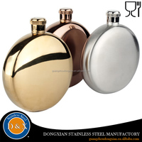 Personalized round copper plated liquor wine 5oz 6oz stainless steel hip flask