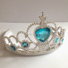 Heart stone plastic Wholesale tiaras crown princess crown for girls