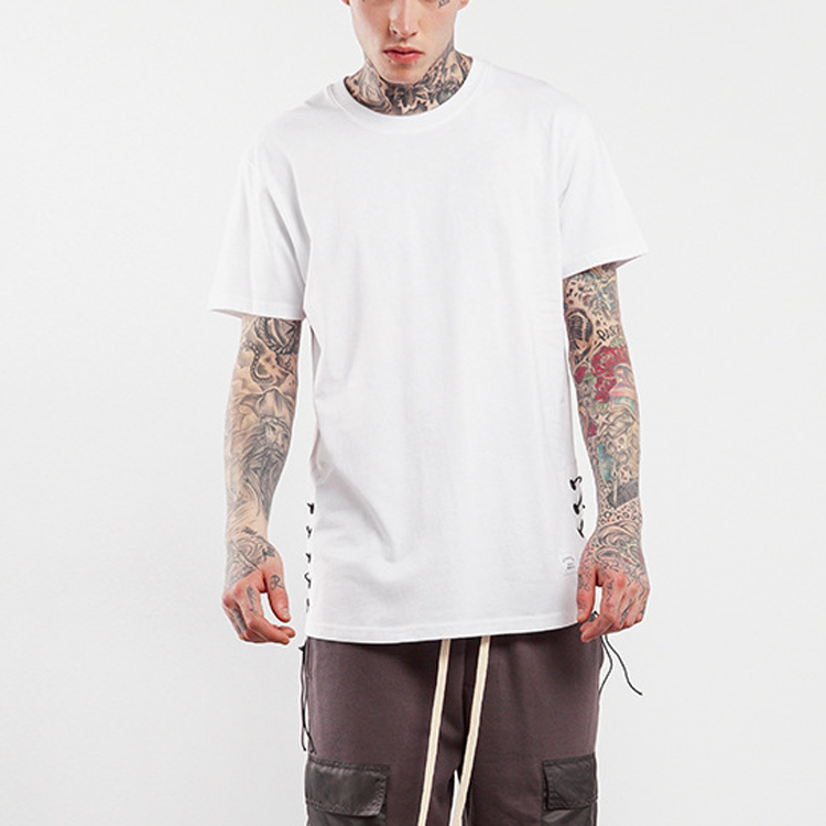 High street custom scoop bottom longline cotton/spandex t shirt side crack drop shoulder blank white t shirt